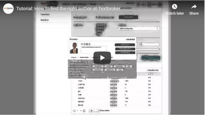 Recherche d'auteur Textbroker