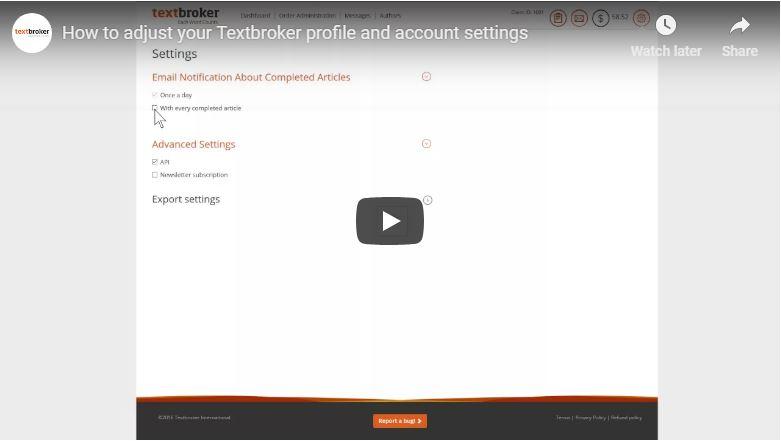 Ajustez votre profil et vos paramètres Textbroker