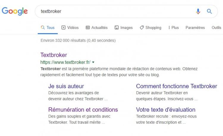 resultat de recherche pour le terme textbroker
