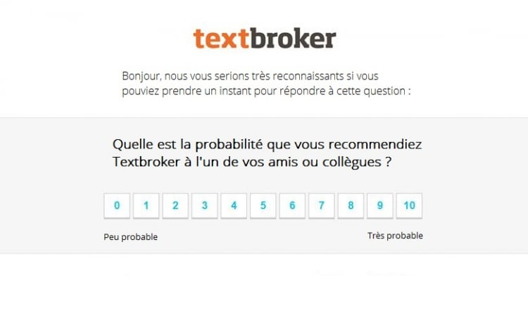 Question du Net Promoter Score pour Textbroker